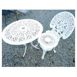 2PC. IRON PATIO TABLE W/ MATCHING CHAIR