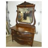 OAK SERPENTINE FRONT DRESSER W/ MIRROR