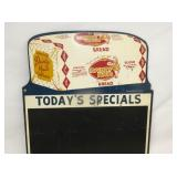 VIEW 2 CLOSEUP TODAY SPECIAL BREAD MENU 1948