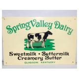 12X18 SPRING VALLEY DAIRY SIGN W/COW