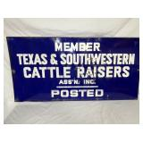 24X48 PORC. TEXAS & SOUTHWESTERN CATTLE SIGN