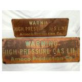 10X30 EMB. AMOCO GAS WARNING SIGN