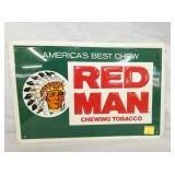 12X18 EMB. RED MAN TOBACCO SIGN