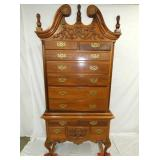 2PC. MAH. CHEST ON FRAME HIGHBOY