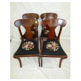 4 MATCHING NEEDLE POINT WALNUT CHAIRS