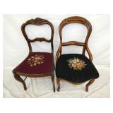2 WALNUT VICT. NEEDLE POINT CHAIRS