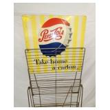 VIEW 2 CLOSEUP PEPSI COLA RACK SIGN W/ CAP