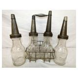 EMB. ATLANTIC OIL BOTTLES W/ RACK