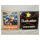 1717 LIGHTED BUDWEISER CLOCK, SIGN