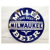 20IN PORC. MILLER BEER SIGN