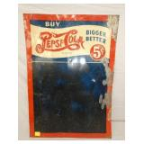 20X28 EMB. PEPSI COLA DOUBLE DOT 5CENT MENU