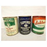 EARLY 5 LBS METAL GREESE CANS