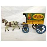 VIEW 2 OTHER SIDE TIN LITHO TOY HORSE & CART