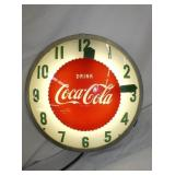 EARLY 21IN. LIGHTED COCA COLA CLOCK