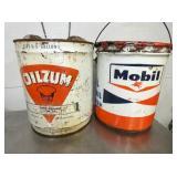 5G. OILZUM & MOBILOIL CANS