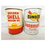 1QT. SHELL & SUNOCO METAL OIL CANS