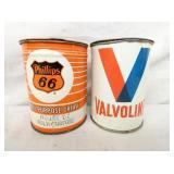 1LB. PHIILIPS 66 & VALVOLINE METAL CANS