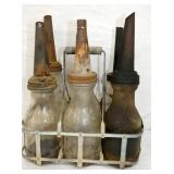 EARLY GLASS OIL BOTTLES W/SPOUTS