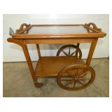 UNUSUAL OAK TEA CART