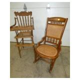 OAK HIGH CHAIR/WALNUT CANE BOTTOM ROCKER