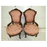 2 WALNUT VICT. HIP CHAIRS