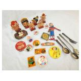 HOWDY DOODY SPOON/FORK SET,BUTTONS,KNIFE,ETC