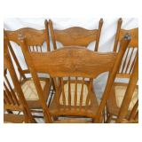 VIEW 2 PRESSED BACK OAK CHAIRS/CANE BOTTOMS