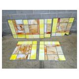 5 STAINED GLASS WINDOW PANELS