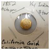 1852 CALIFORNIA GOLD TOKEN 1/4 INDIAN