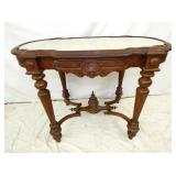 22X38 WALNUT MARBLE TOP TABLE