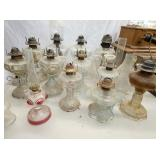 COLLECTION EARLY PATTERN GLASS OIL LAMPS