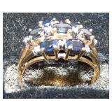 14KT SAPHIRE & DIAMONDS GOLD RING