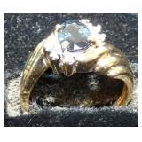 14KT SAPHIRE & DIAMONDS OLD RING