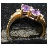 14KT AMETHYST/DIAMONDS GOLD RING