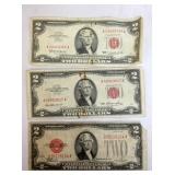 1928J,1953,1963 $2 RED SEALS