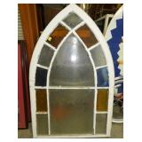36X48 STAINED GLASS STEEPLE WINDOW