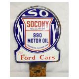 8X9 RARE PORC. SOCONY FORD CARS PUMP SIGN
