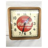 16IN COCA COLA WOODEN FRAMED CLOCK