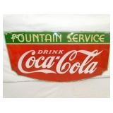 14X27 PORC. COKE FOUNTAIN SIGN 1935 TN ENAMEL