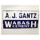 12X24 AJ GANTZ WABASH CEMENT SIGN