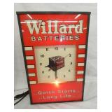 12X18 WILLARD BATTERIES LIGHTED CLOCK