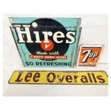 HIRES/7-UP/LEE OVERALL SIGNS