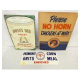 HONEY BEE SNUFF/RED COMB FEES/JIM DANDY CORNMEAL SIGNS