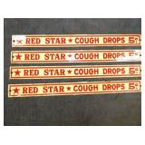 RED STAR COUGH DROPS SHELF SIGNS