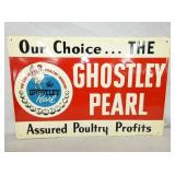 12X18 NOS GHOSTLY PEARL EMB. SIGN