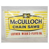 22X34 EMB. MCCULLOCK CHAIN SAWS SIGN