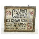 25X31 CUT RATE CIGARS CANDY SIGN