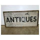 30X62 WOODEN ANTIQUES SIGN