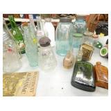 ASSORTED JARS, GLASS, ETC