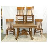 UNUSUAL OAK TABLE AND CHAIRS